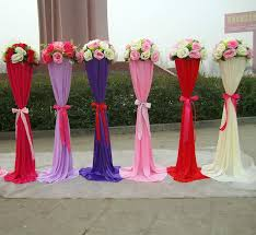 Flower Display Stands Wholesale Wedding Road Lead Metal Stand Centerpieces With Silk Cloth Cover 82