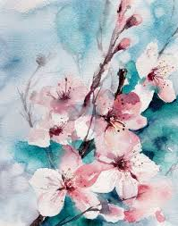 almond blossoms watercolor painting art print pink turquoise fl art modern abstract wall art