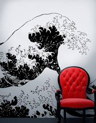 on vinyl wall art decals graphics stickers with japanese the great wave off kanagawa by hokusai wall decal 363