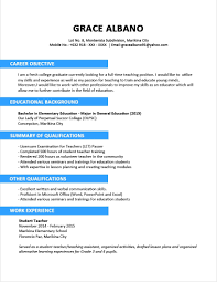 Objective In Resume For Fresh Graduate Tourism Listmachinepro Com