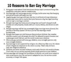Reasons for and against gay marriage