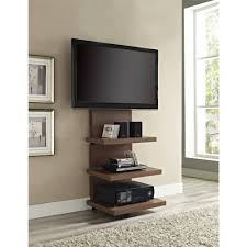 Wall Mounted Tv Frame Furniture Wall Pounted Tv And Media Shelf Hanging On Beige Wall