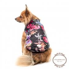 Winter Roses Designer Quilted Dog Coat - Bark and Swagger & Floral designer quilted dog coat Adamdwight.com