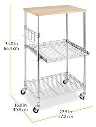 chrome 3 tier wire rolling kitchen cart utility food service microwave stand us