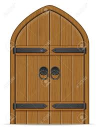 ilration old wooden door vector ilration isolated on white background