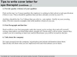 Cover Letter For Spa Therapist Mockatoo Com
