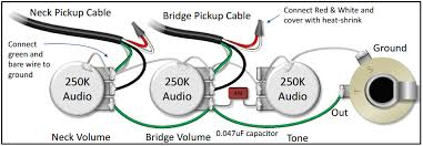 the pickups wiring diagram is confusing do you have a simplified this diagram shows how to connect 2 single conductor pickups to a blend pot as part of a bartolini pre wired harness