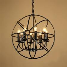 details about industrial orb chandelier globe pendant lamp vintage metal cage ceiling fixture