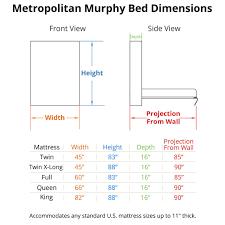 Details. Metropolitan Murphy Bed Dimensions