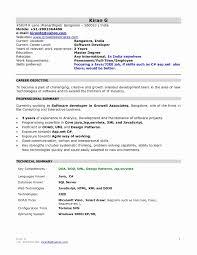 Resume Format For 1 Year Experience Dot Net Developer Resume Work
