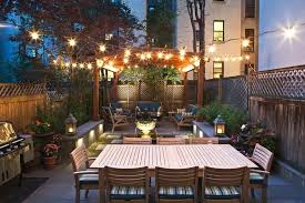 outdoor terrace lighting. Outdoor Dining San Francisco Table Patio Transitional With String Lights Wood Terrace Lighting R