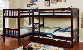 twin bunk beds. Wonderful Beds L Shaped Quadruple Twin Quad Bunk Bed In Dark Walnut  Intended Beds