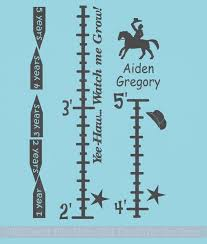 Personalized Cowboy Growth Chart Vinyl Wall Decal Stickers