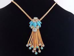 hobé 1965 exquisite necklace with large turquoise pendant vintage