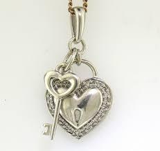 mhj white gold diamond set key to my heart pendant guaranteed genuine