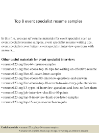 Resume Specialist Mesmerizing Top 60 Event Specialist Resume Samples
