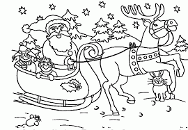 Best Photos Of Santa Sleigh And Reindeer Coloring Page Santa
