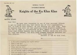 history of the kkk membership application from the s