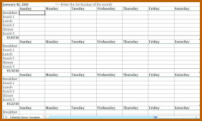 2-3 Meal Calendar Template | Resumesheets
