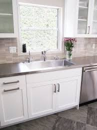 white cabinets with stainless steel countertops. Kitchen With Huge Stainless Steel Sink Fully Integrated Into The Counter Intended White Cabinets Countertops