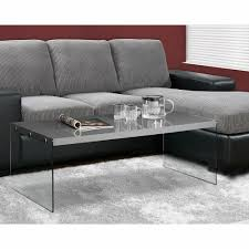monarch specialties coffee table glossy grey with tempered glass i 3292