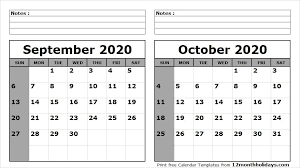 September October 2020 Calendar Printable 2018 Calendar