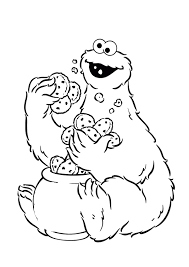 Small Picture Cookie Monster Holding A Lot Of Cake Coloring Pages Sesame