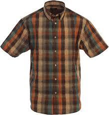 Gioberti Mens Plaid Short Sleeve Shirt Brown Teal Orange