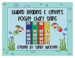 Guided Reading Centers Pocket Chart Signs Posters Ocean Themed