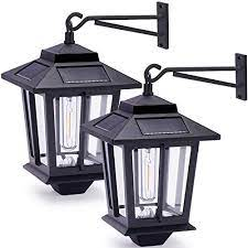 2 pack solar wall lanterns with 4