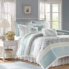 Image Colorful Madison Park Dawn Queen Size Bed Comforter Set Bed In Bag Aqua Floral Amazoncom Amazoncom Madison Park Dawn Queen Size Bed Comforter Set Bed In