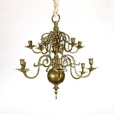 garden court antiques small scale 12 light dutch brass chandelier holland circa 1880