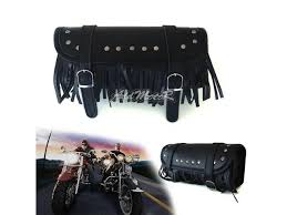 addmotor motorcycle bike tool roll bag for harley tassels pu leather belt front fork bags