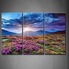 3 panel wall art blue sunset mountains landscape overcast sky storm purple flowers carpathian ukraine painting on 3 piece wall art mountains with amazon 3 panel wall art blue sunset mountains landscape