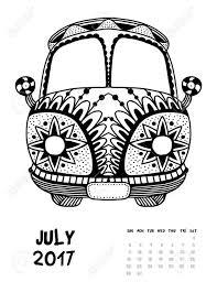 2017 年 7 月日カレンダーしますライン アートの黒と白のイラストヴァン抗ストレスの着色のページを印刷