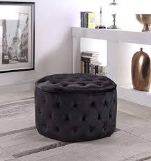 Pop Soft Velvet Fabric Round Ottoman Bench Black ... - Amazon.com