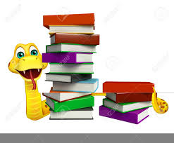3d rendered ilration of snake cartoon character with book stock ilration 53974453