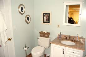 bathroom, Bright Small Bathroom Space Using Calm Blue Wall Paint Decoration  And Filled With Marble