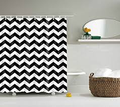 dotz chevron shower curtain black and white polyester fabric 70 inch x 70 inch includes 12 plastic shower rings