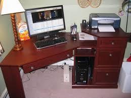 corner home office cherry wood desk