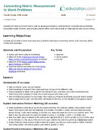 Ms Word Lesson Plans Converting Metric Measurement In Word Problems Lesson Plan