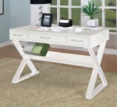 com home office desk with triangular legs in white finish white lacquer