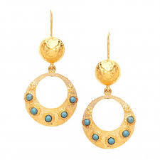 turquoise hoop and beaded drop earrings