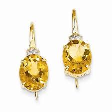 14k yellow gold diamond citrine yellow oval drop dangle chandelier earrings