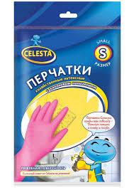 Купить <b>Перчатки латексные</b> Celesta хозяйственные <b>размер S</b>, 1 ...