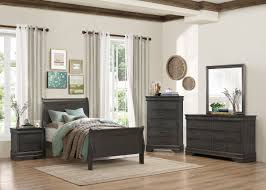 Louis Bedroom Furniture Mayville 4pc Traditional Louis Phillippe Grey King Sleigh Bedroom Set