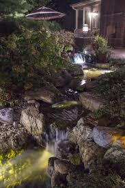 Aquascape Pond Lights Backyard Waterfall Lit At Night With Led Pond And Landscape