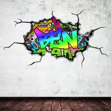 Full Colour Personalised 3D Graffiti Name Cracked Wall Art Throughout Graffiti  Wall Art Stickers (Image