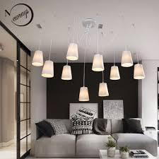 Us 1068 40 Offmoderne Mode Große Spinne Geflochtene Kronleuchter Weiß Schwarz Stoff Shades 10 Lichter Hängen Cluster Decke Lampe Wohnzimmer In