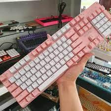 Chính hãng) Bàn Phím Cơ Yindiao Pink Blue Switch Led Đơn Sắc Trắng ( Phím  vuông - Keycap tròn ) tại TP. Hồ Chí Minh